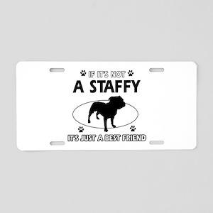 staffy designs Aluminum License Plate