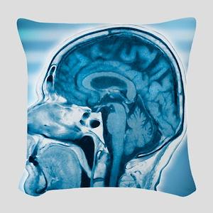 Normal head and brain, MRI sca Woven Throw Pillow