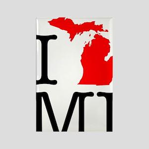 I Love MI Michigan Rectangle Magnet