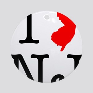 I Love NJ New Jersey Round Ornament