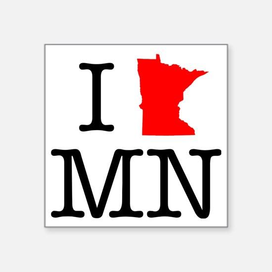"I Love MN Minnesota Square Sticker 3"" x 3"""