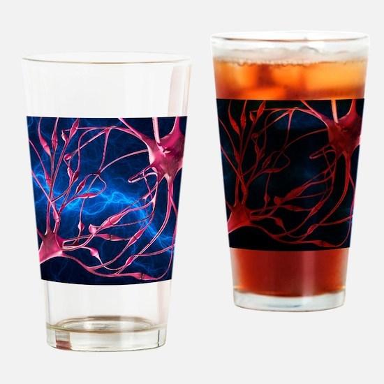 Nerve synapses, artwork Drinking Glass