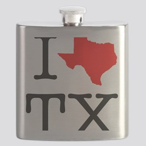 I Love TX Texas Flask