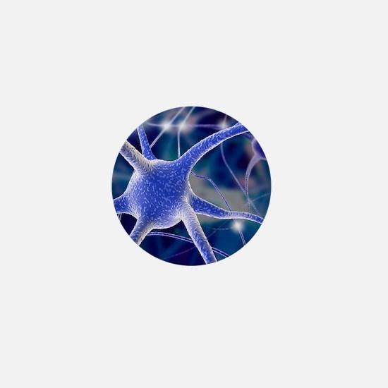 Nerve cells, computer artwork Mini Button