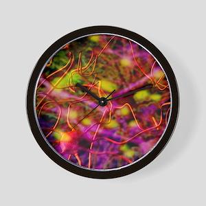 Nerve cells, computer artwork Wall Clock