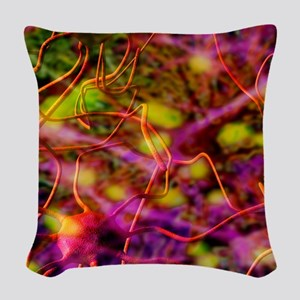 Nerve cells, computer artwork Woven Throw Pillow