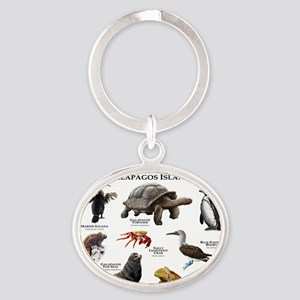 Animals of the Galapagos Islands Oval Keychain