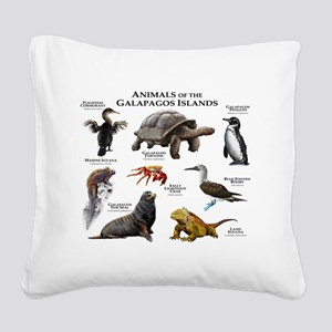 Animals of the Galapagos Isla Square Canvas Pillow
