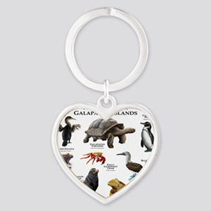 Animals of the Galapagos Islands Heart Keychain
