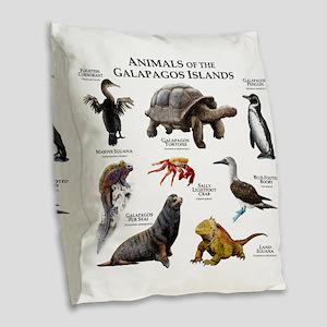Animals of the Galapagos Islan Burlap Throw Pillow
