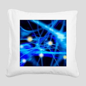 Nerve cells, computer artwork Square Canvas Pillow
