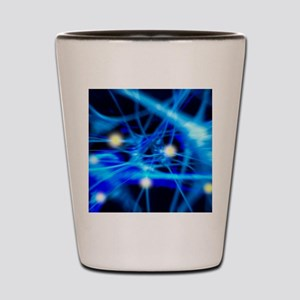 Nerve cells, computer artwork Shot Glass