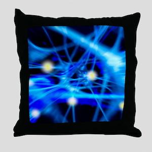 Nerve cells, computer artwork Throw Pillow
