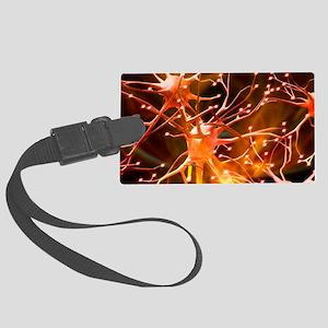 Nerve cells, artwork Large Luggage Tag