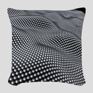 Nanospheres, computer artwork Woven Throw Pillow