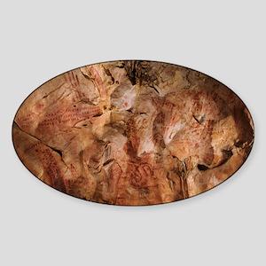 Stone-age cave paintings, Asturias, Sticker (Oval)