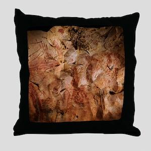Stone-age cave paintings, Asturias, S Throw Pillow