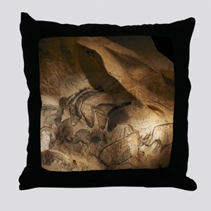 Stone-age cave paintings, Chauvet, Fr Throw Pillow