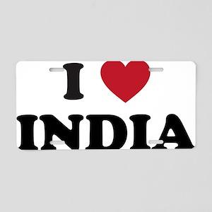 I Love India Aluminum License Plate