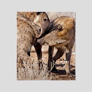 Spotted hyena greeting ritual Throw Blanket