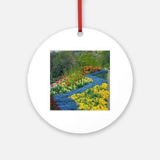Spring border at RHS Rosemoor, UK Round Ornament
