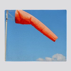 Windsock in an airfield Throw Blanket