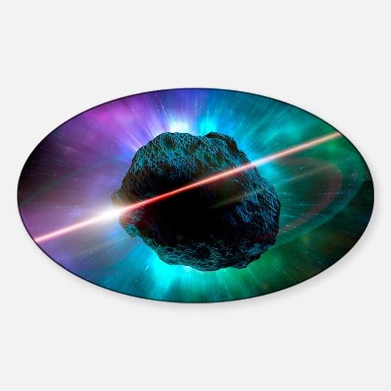Meteor in space, artwork Sticker (Oval)