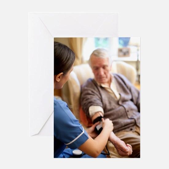 Measuring blood pressure Greeting Card