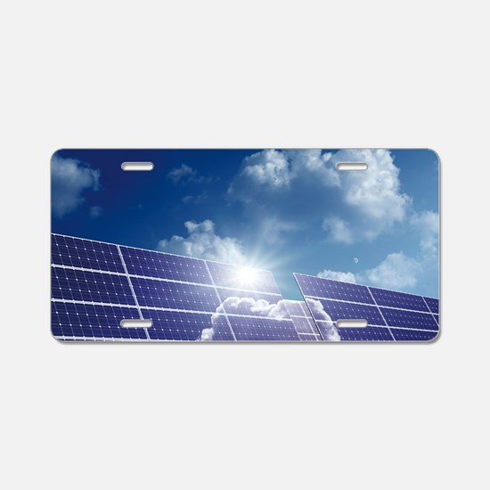 Solar panels in the sun Aluminum License Plate