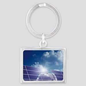 Solar panels in the sun Landscape Keychain