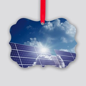 Solar panels in the sun Picture Ornament