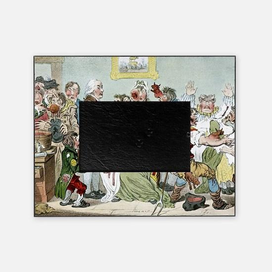 Smallpox vaccination, satirical artw Picture Frame