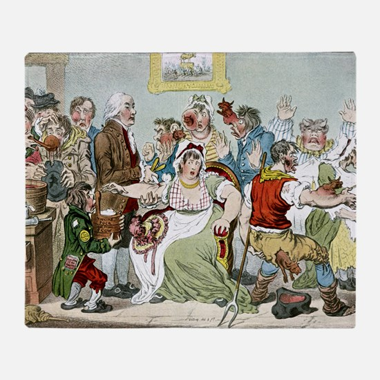 Smallpox vaccination, satirical artw Throw Blanket