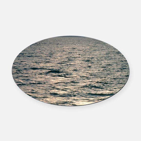 View of sunlit waves on open water Oval Car Magnet