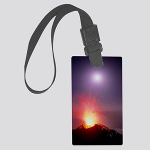 Volcano at night Large Luggage Tag