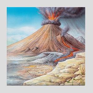 Volcano erupting, artwork Tile Coaster