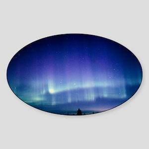 View of a colourful aurora borealis Sticker (Oval)