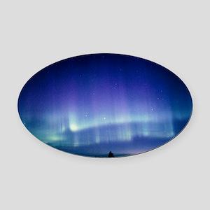 View of a colourful aurora boreali Oval Car Magnet
