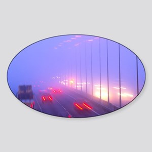Vehicles driving through fog on a m Sticker (Oval)