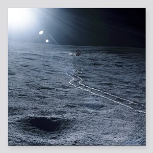 "Lunar landing module Square Car Magnet 3"" x 3"""
