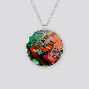 Laptop circuit board Necklace Circle Charm