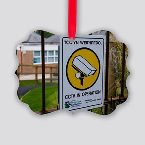 Security camera sign at a school  Picture Ornament