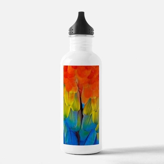 Scarlet macaw plumage Water Bottle