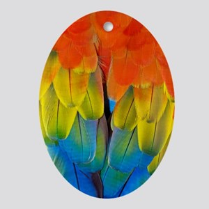 Scarlet macaw plumage Oval Ornament