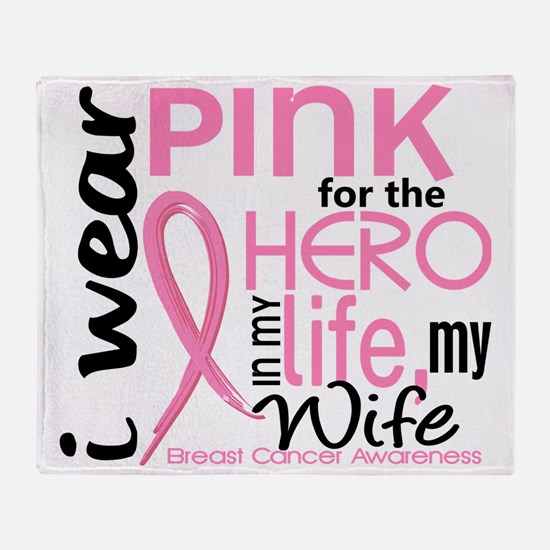 - Hero in Life Wife Breast Cancer Throw Blanket
