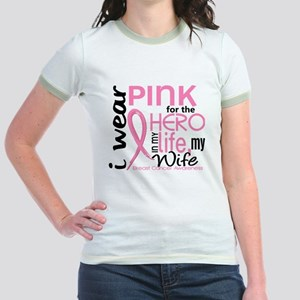 - Hero in Life Wife Breast Canc Jr. Ringer T-Shirt