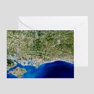 True-colour satellite image of Hamps Greeting Card