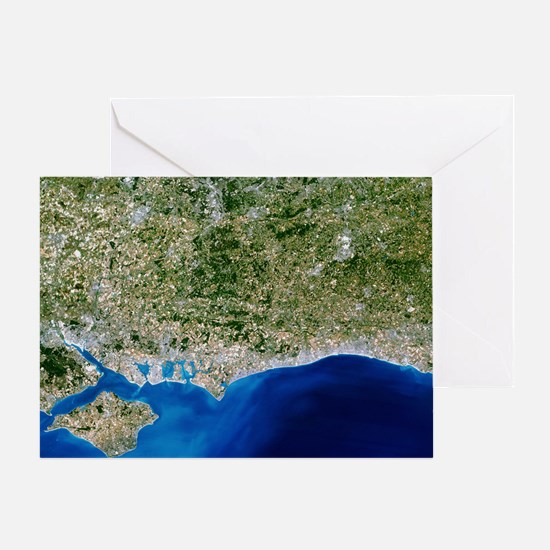 True-colour satellite image of Hamps Greeting Card