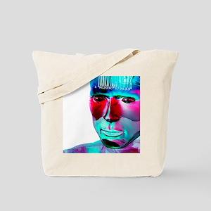 Humanoid and barcode, artwork Tote Bag