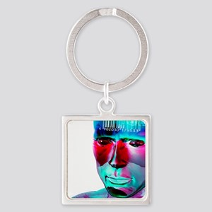 Humanoid and barcode, artwork Square Keychain